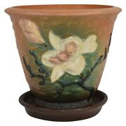 Roseville Pottery Magnolia 1943 Brown Flower Pot And Saucer 666-5