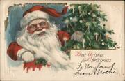 Santa Claus Best Wishes For Christmas Postcard Vintage Post Card