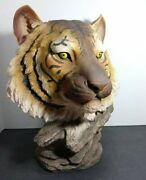 White Tiger Head Mount Wall Statue Bust Figurine 16 Height Wild Life