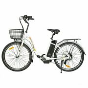 26 36v 10ah Litium Ion Electric Bicycle E-bike With Bicycle Basket White New