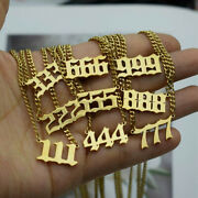Charm Angel Number Women Pendant Necklaces Stainless Steel Choker Chain Jewelry