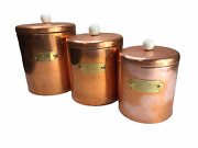 Vintage Antique Copper Canister Storage Container Set Of 3 Metal Flour Coffee