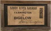 Large Handpainted Antique Fiber Board Sign For The Sandy River Railroad Farming