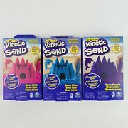Lot Of 3 Kinetic Sand 8 Oz 1 Each Of Neon Pink Blue And Purple 24 Ounces Total