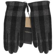 New Black Leather Check Wool Cashmere Lining Gloves 8.5 Touch Screen