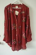 New Fig And Flower Peasant Blouse Shirt Top Burgundy Tunic Plus Size 1x