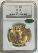 1924 Ngc Ms-64 Cac 20 Gold Double Eagle Saint Gaudens Coin