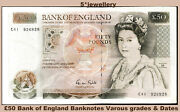 Real Bank Of England Money Currency Fifty Andpound50 Pound Banknotes 1981 1988