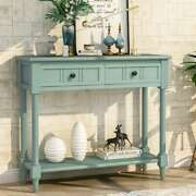 Vintage Design Console Table With Two Drawers Bottom Shelf Entryway Living Room
