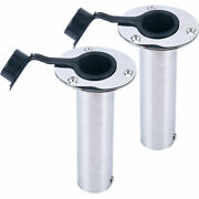 2 Pack Stainless Steel Rod Holders With Rubber Cap And Liner Flush Mount 90 Deg