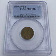 1909-s 1c Vdb Pcgs Ms64rb One Cent Wheat Penny