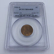 1931-s 1c Pcgs Ms64rd One Cent Wheat Penny