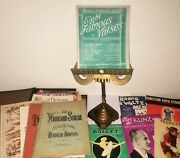 Vintage Brass Gothic Style Church Lyre Lectern Sheet Music Bible Book Stand Rest