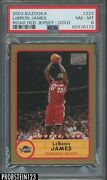 2003-04 Topps Bazooka Gold 223 Lebron James Road Red Jersey Rc Psa 8 Nm-mt