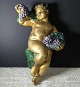 1850-80and039s Antique French Country Regal Ceramic Cherub Angel Sculpture Plaque A