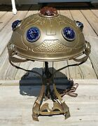 Rare Antique Art Nouveau Bronze Lamp With Jeweled Shade