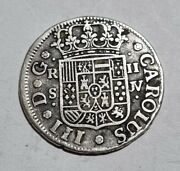 1762 Jv Sevilla Authentic 2 Reales Silver Coin Spain Colonial 5.34g Carolus Iii