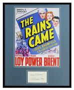 Myrna Loy Signed Framed 16x20 The Rains Came Poster Display