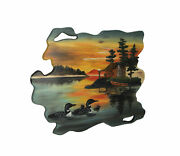 Loon Family Lake Cabin Sunset Hand Carved Natural Wood Wall Art Home Lodge Decor