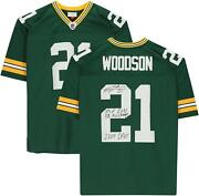 Charles Woodson Green Bay Packers Signed Green Replica Jersey And Inscs - Le 21