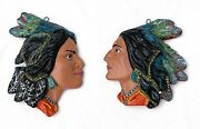 2 Vintage Native American Couple Indian Head Chalkware Profile Wall Hanging