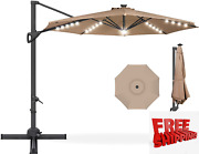Best Choice Products 10ft 360-degree Solar Led Cantilever Patio Umbrella, Hangin