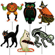 6 Retro Plastic Halloween Yard Signs Cat Witch Pumpkin Vintage Style By Beistle