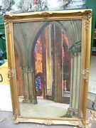 Oil On Canvas Copy Interior Of Cathedral Stone Gaston Rigaud