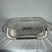 Leonard Silver Etched Footed Silverplate 24 Tray Vintage