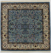 Teal Blue Square Hand-knotted New Kirman 5x5 Fine Wool Oriental Area Rug Carpet