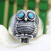 Men Women Owl Turquoise Eyes Ring Band Animal Party Jewelry Unique Size 6-13