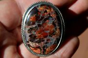 New Large Kevin Yazzie Navajo Sterling Silver And Dinosaur Bone Fossil Tufa Ring