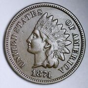 1874 Indian Head Cent Penny Choice Au Free Shipping E127 Zfl