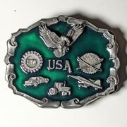 Heavy Belt Buckle Eagle Plane Auto Tractor Uaw Workers Skilled Trade Green Inlay