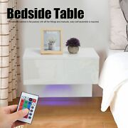 Modern Bedside End Table High Gloss Led Nightstand With Drawer Unit Furniture