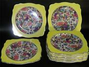Antique Crown Ducal Chintz Set Of 12 Square Plates Exotic Birds Yellow Border
