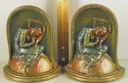 Antique Cast Iron Painted Polychrome Pair Bookends ''lost Hope'' Marked Kando