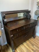 Antique Tigerwood Sideboard Buffet W/removable Mirror