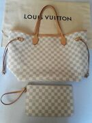 Authentic Louis Vuitton Neverfull Mm Damier Azur N41361 Free Shipping