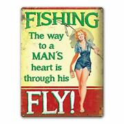 Agedsign Metal Vintage Funny Quote Signs Fishing The Way To A Mans Heart Manc...