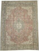 Handmade Muted Red Antique Traditional 9x12 Floral Design Oriental Rug Carpet