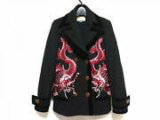 P-coat Women And039s Embroidery Black Red Pink Multi Winter/embroidery/dragon