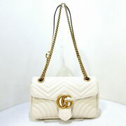Secondhand Gg Marmont Quilting Small Shoulder Bag Chain Ivory Razor
