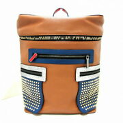 Secondhand Christian Louboutin Apolbi Backpack Studs Brown Navy Silver Razor