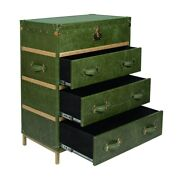 Green Crunch Leather Chest Of Drawers