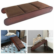 Foldable Wooden Pet Ramp Freestanding Cat Dog Wood Steps Ladder Stairs High Bed