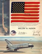 Richard Truly Sts-2 Plt Nasa Astronaut Signed Space Flown Flag