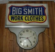 Vintage Awesome Big Smith Work Clothes Lighted Advertising Wall Clock Sign