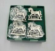 Four Antique Pewter Style Bombay English Horse Napkin Rings Mint In Original Box