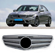 Front Grill Grille Chrome Silver Fit Mercedes Benz C Class W204 2007-14 Facelift
